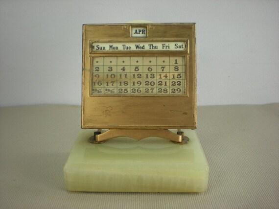 Perpetual Calendar Desk : Jemco pat perpetual desk calendar brass onyx deco