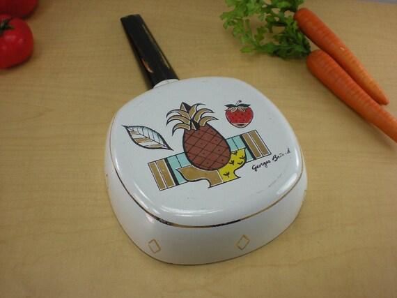 Georges Briard Enamel Steel Enamelware Fry Pan Skillet Pineapple