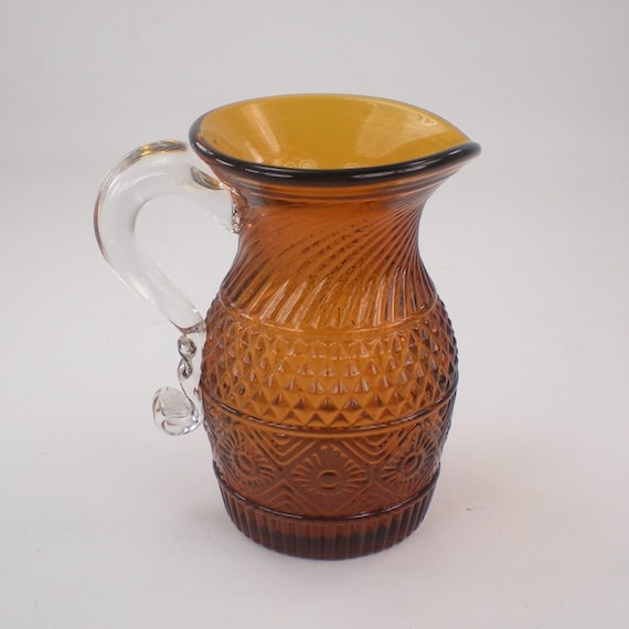 Amber Brown Glass Blown Small Glass Pitcher or Creamer