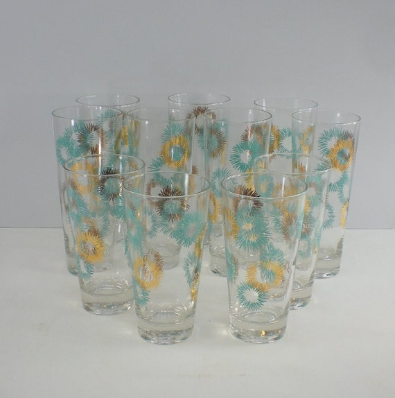 11 atomic starburst 50s glasses aqua gold barware - Starburst glassware ...