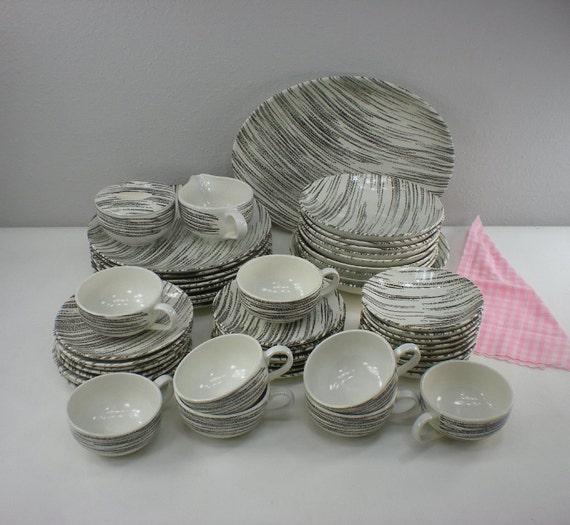 1950s royal china windblown black white dinnerware set. Black Bedroom Furniture Sets. Home Design Ideas