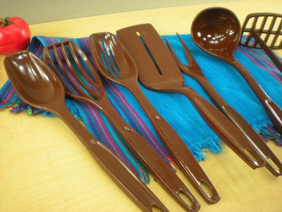 Foley Nylon Cooking Utensil 7 Set Brown Spatula Spoons