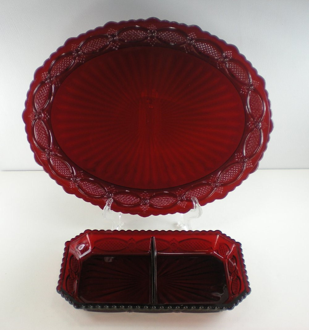 Avon Cape Cod Ruby Red Glass Oval Platter And Divided Dish
