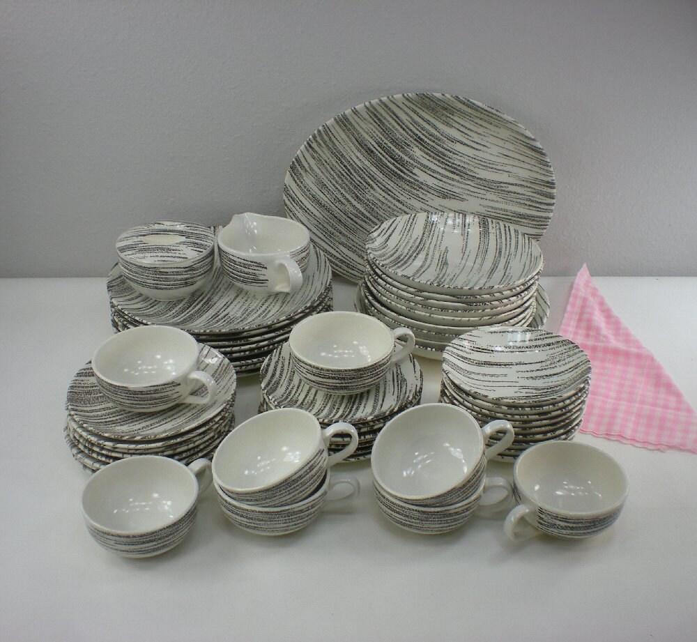 1950s Dishes: 1950s Royal China WINDBLOWN Black White Dinnerware Set
