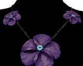 Purple polymer clay flower necklace