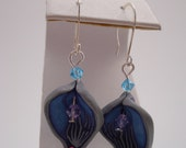 Blue, Purple, and Silver Polymer Clay flower Petal Earrings