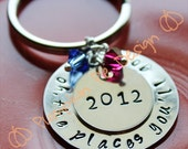 Oh the Places You'll Go, Sterling Silver Hand Stamped Graduation Keychain or Necklace by Pumpkin Pie Design on Etsy - 004