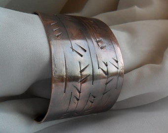 Textured Copper Cuff Bracelet Mens Womens