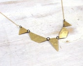 "18"" Hammered Brass Geometric Necklace on 14K Gold Fill Chain- Deco Collar"