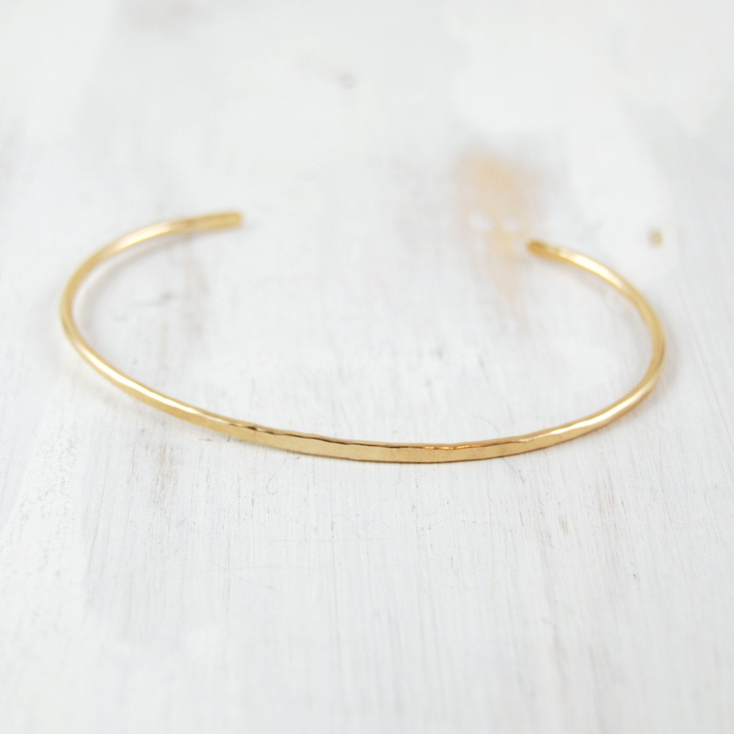 thin gold bracelet simple forged cuff