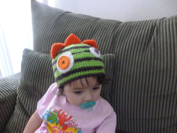 Brobee Inspired Monster Hat/Beanie-Unisex-All Sizes-Purple and Limelight-Made to Order