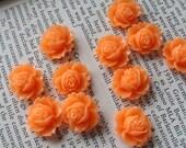 Peach Resin Flower Cabochon 18mm x 16mm