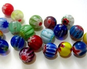 Millefiori Murano Style Beads 8mm