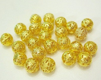 Gold Plated Round 8 mm Filigree Spacer Beads