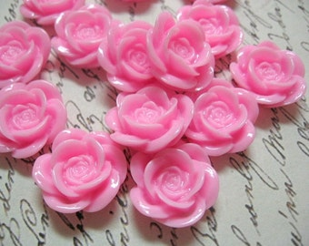 Large Pink Resin Flower Cabochons 18mm