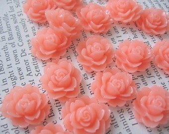 Peach-Pink Resin Flower Cabochon 18mm x 16mm