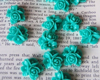Teal Resin Flower Cabochon 16mm x 16mm