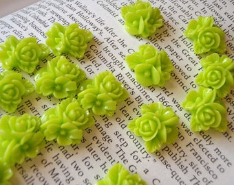 Lime Green Resin Flower Cabochon 16mm x 16mm