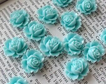 Mint Resin Flower Cabochon 18mm x 16mm