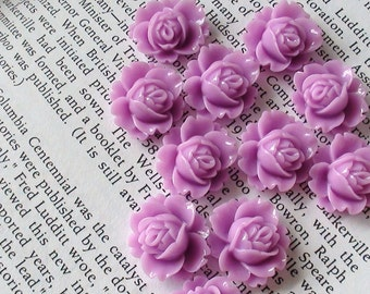 Light Purle  Resin Flower Cabochon 18mm x 16mm
