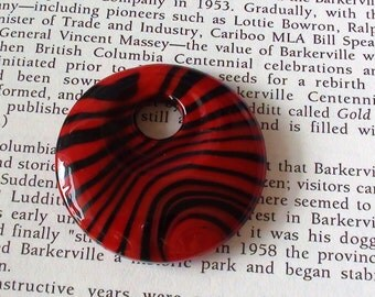 Black and Red Lampwork Murano Style Donut Pendant