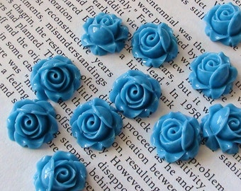 Blue Resin Flower Cabochon 15mm x 8mm