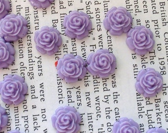 Resin Cabochon Flowers 12mm Purple