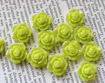 Lime Green Resin Flower Cabochon 16mm