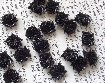 Small Black Resin Flower Cabochons 12mm