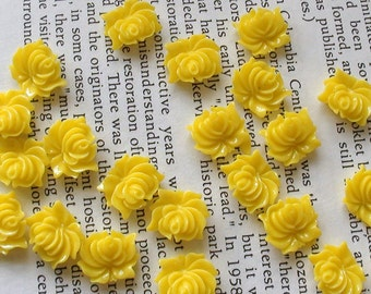 Small Yellow Resin Flower Cabochons 12mm