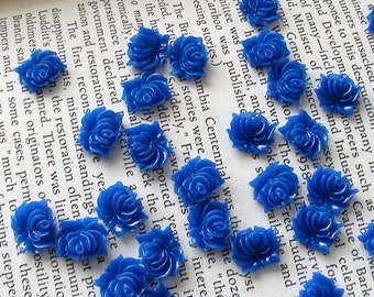 Small Royal Blue Resin Flower Cabochons 12mm
