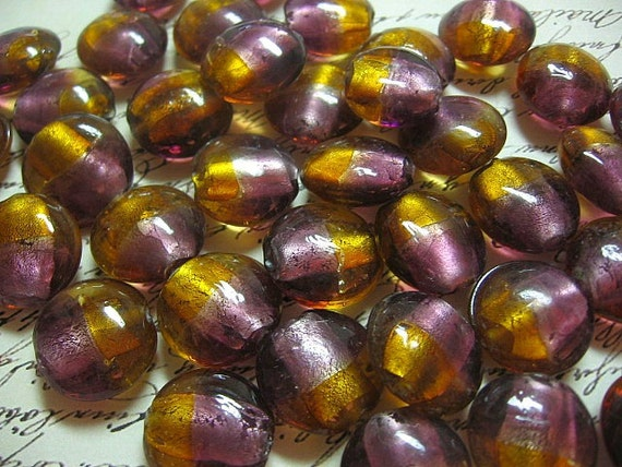 Round Foiled Glass Lampwork Beads