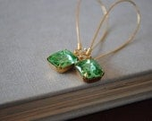 Vintage Swarovski Crystal Rhinestone Earrings - Bright Green