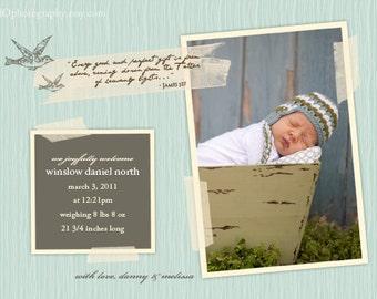 Birth Announcement for Boy VINTAGEmodern - DIY Digital File