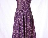 Vintage 70s Prairie Butterfly Dress Purple Flowers Boho Hippie Sleeveless Size S / M