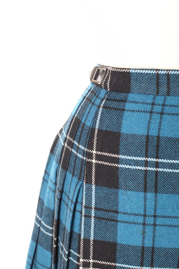 Vintage Highlander Deans Kilt Made in Scotland Blue Black Tartan Wool Size 10