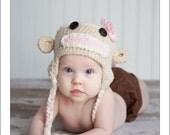 Baby Sock Monkey Hat-Newborn-12months