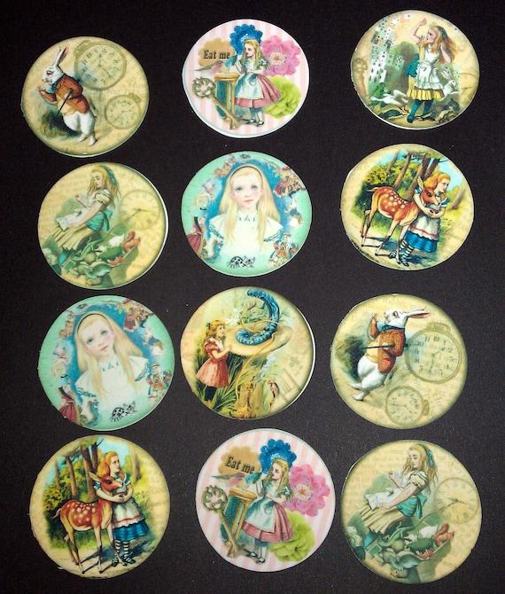 12 Alice In Wonderland Edible Images on very tasty Sugar frosting sheets Sugar Cookies Cupcake toppers