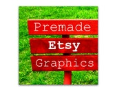 Premade Etsy Shop Banner and Avatar - Red Park Bench