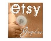 Premade Etsy Shop Banner and Avatar - Wishing Dandelion on Sephia