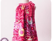 Pink Dress - 12m to 8y - Pdf Pattern and Instructions - easy sew, rounded collar, pillow case style dress