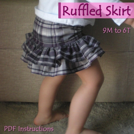 Ruffled skirt - 9M to 8Y - PDF Instructions - double layer ruffle skirt - for girls up to 8 years - baby - toddler - kids
