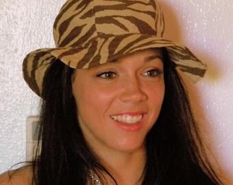 The Alex Sun Hat in Brown Zebra
