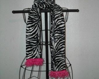 Girls Furry Zebra Scarf with Hot Pink Fringe