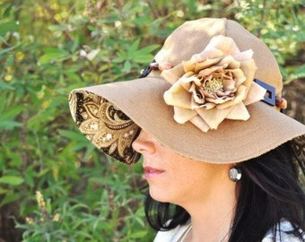 The Audrynn Reversible Sunhat in Tobacco Brown Linen
