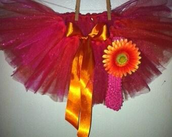 Bright Orange and Hot Pink Tutu with Matching Flower Headband