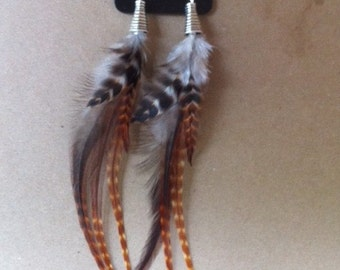Long Rust Colored Grizzly Feather Earrings