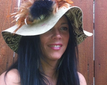 The Audrynn Reversible Sunhat in Tobacco Brown Linen Adorned with Feathers