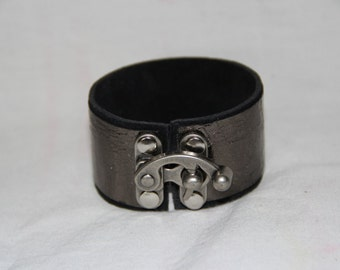 Leather Cuff Bracelet in Black and Metallic Silver