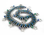Blue and Green Star Anklet